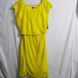 NWT Vince Camuto yellow midi dress with sequins